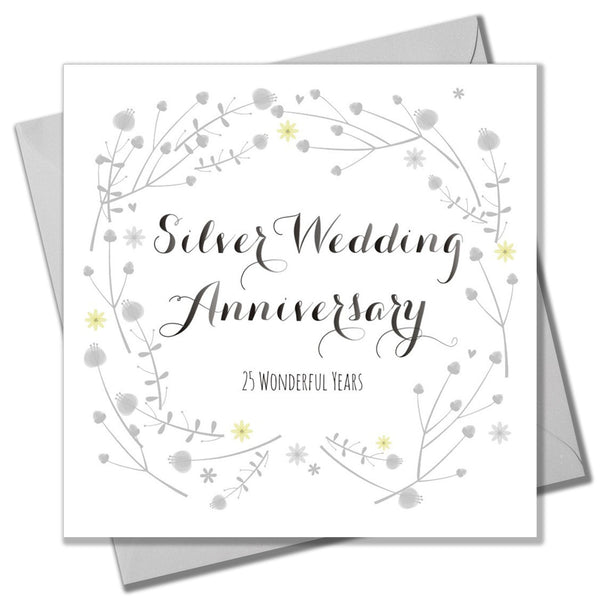 Wedding Card, Flowers, Silver Wedding Anniversary