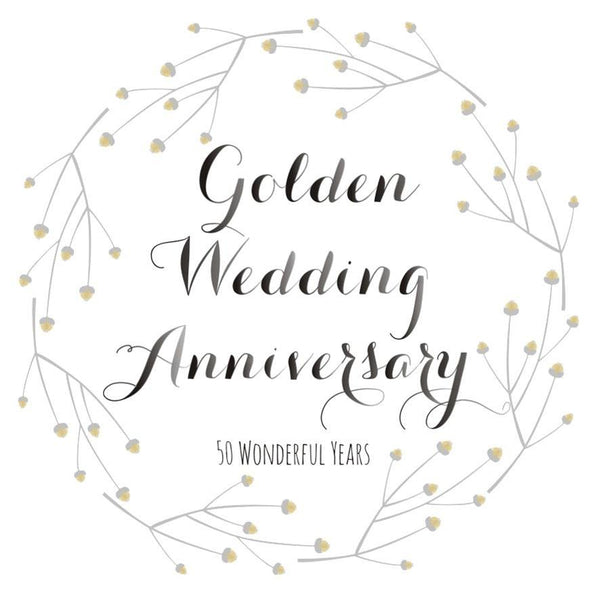 Wedding Card, Flowers, Golden Wedding Anniversary