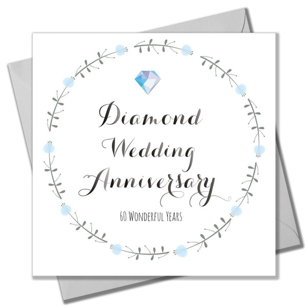Wedding Card, Flowers, Diamond Wedding Anniversary