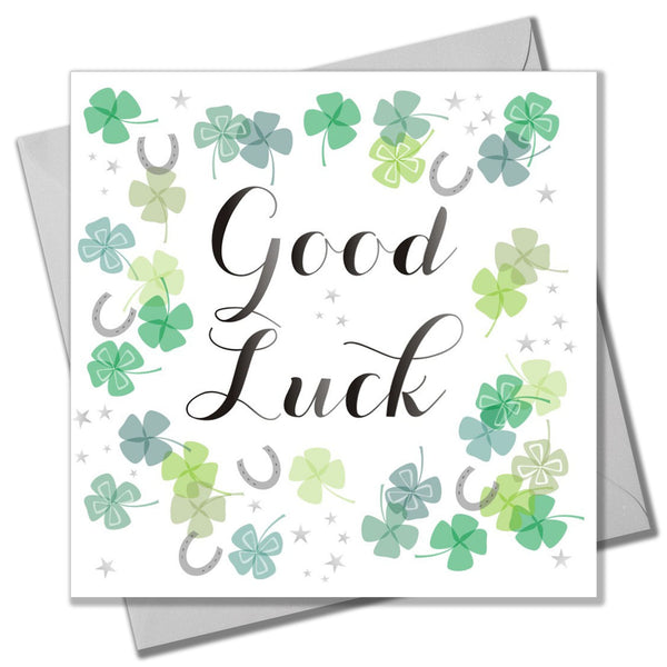 Good Luck Card, Horseshoe and Four Leaf Clover