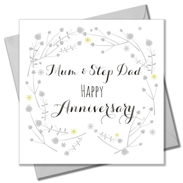 Wedding Card, Flowers, Mum and Step Dad Happy Anniversary