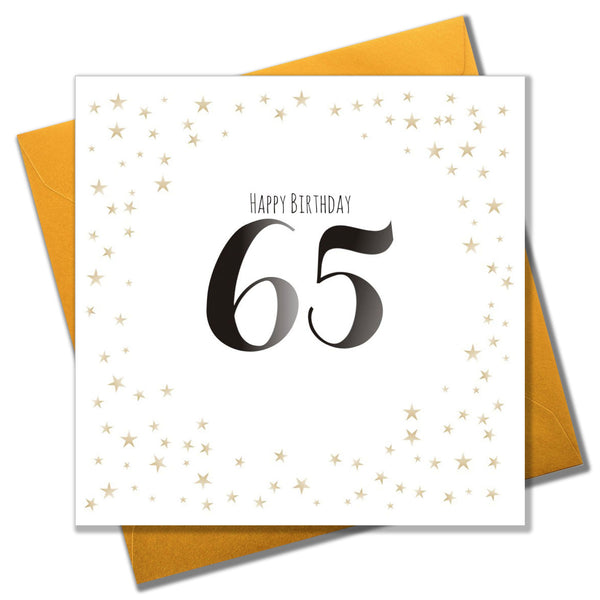 Birthday Card, Gold Stars, Happy Birthday 65