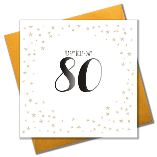 Birthday Card, Gold Stars, Happy Birthday 80