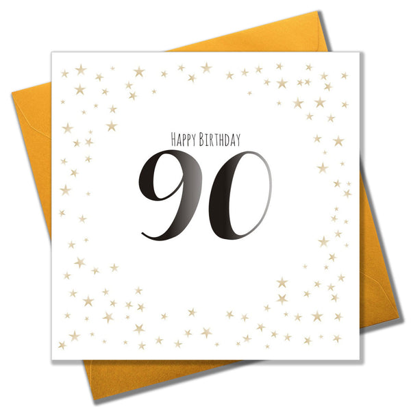 Birthday Card, Gold Stars, Happy Birthday 90