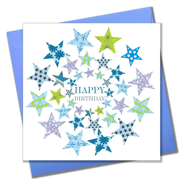 Birthday Card, Circle Stars, Happy Birthday