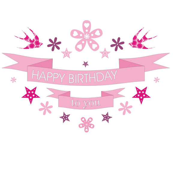 Birthday Card, Pink Banner, Happy Birthday to you