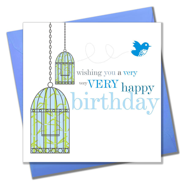 Birthday Card, Birdcages, Wishing you a very Happy Birthday