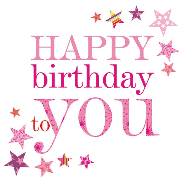 Birthday Card, Pink Stars, Happy Birthday to you