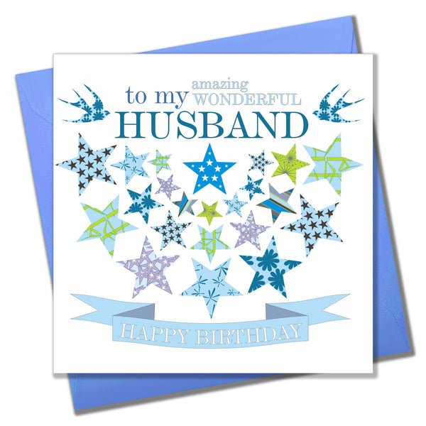 Birthday Card, Blue Stars, to my wonderful Husband, Happy Birthday