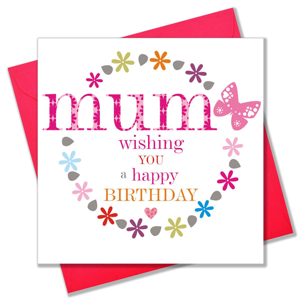 Birthday Card, Pink Flowers, Mum, Wishing you a Happy Birthday