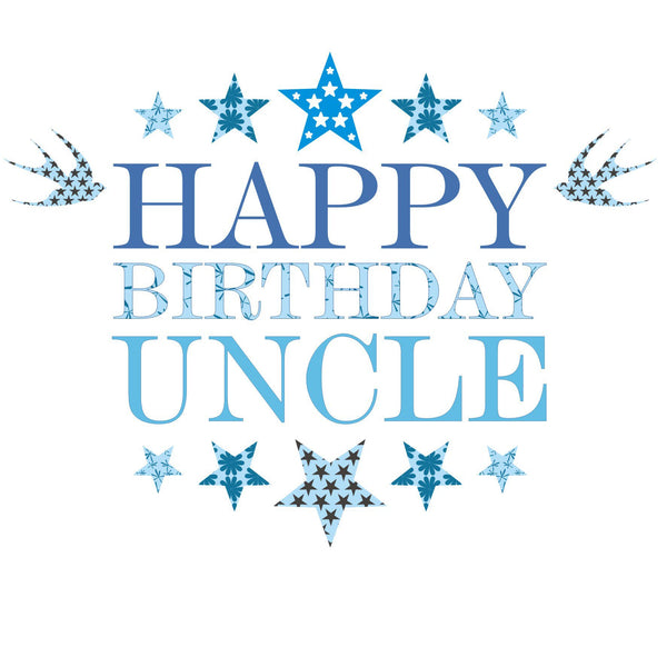 Birthday Card, Blue Stars, Happy Birthday Uncle