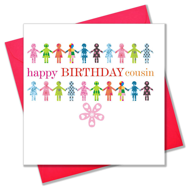 Birthday Card, Patterned Girls, Happy Birthday Cousin