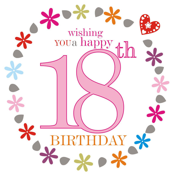 Birthday Card, Pink Age 18, wishing you a Happy 18th Birthday