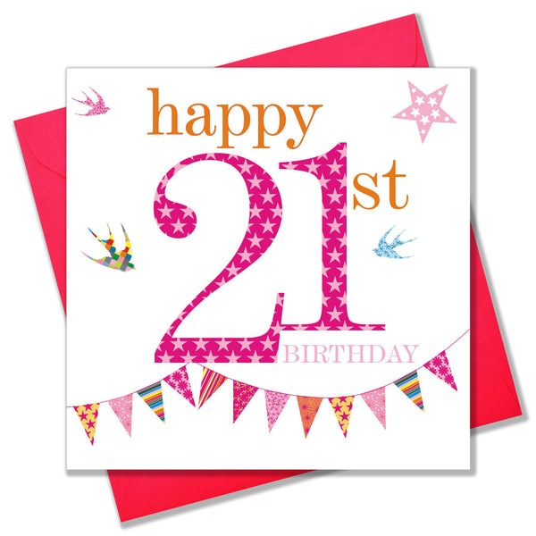 Birthday Card, Pink Age 21, Happy 21st Birthday