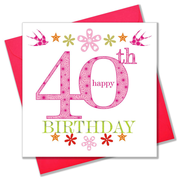 Birthday Card, Pink Age 40, Happy 40th Birthday