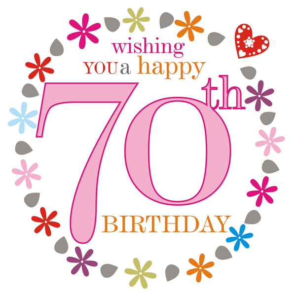 Birthday Card, Pink Age 70, wishing you a Happy 70th Birthday