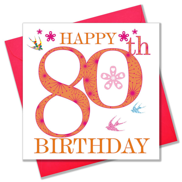 Birthday Card, Pink Age 80, Happy 80th Birthday