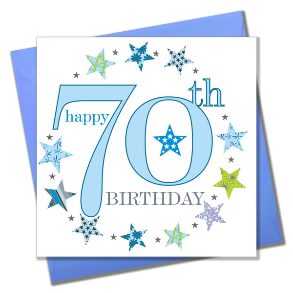 Birthday Card, Blue Age 70, Happy 70th Birthday