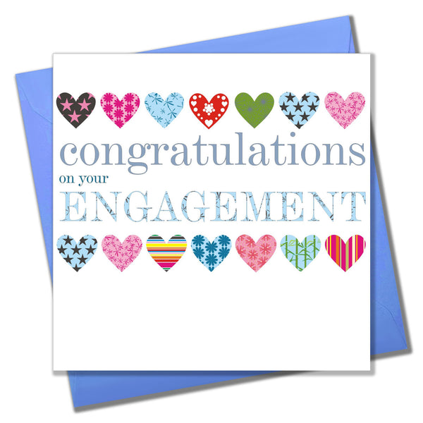 Wedding Card, Patterned Hearts, Congratulations on your Engagement