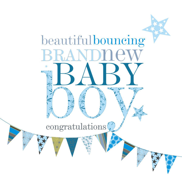 Baby Card, Blue Bunting, Beautiful bouncing brand new Baby Boy