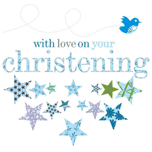 Baby Card, Blue Stars, with love on your Christening