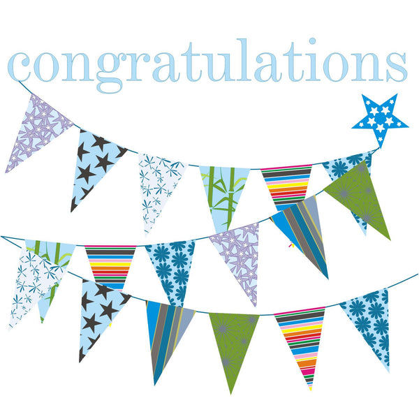 Congratulations Card, Blue Bunting and Star, Congratulations