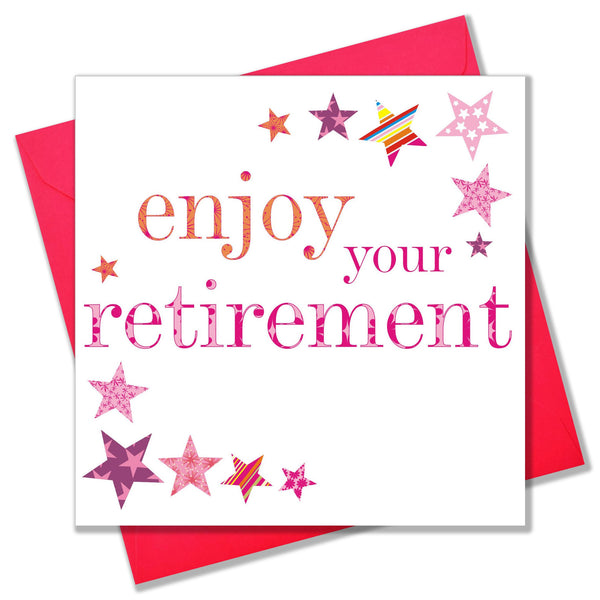 Congratulations and Good Luck Card, Pink Stars, enjoy your Retirement