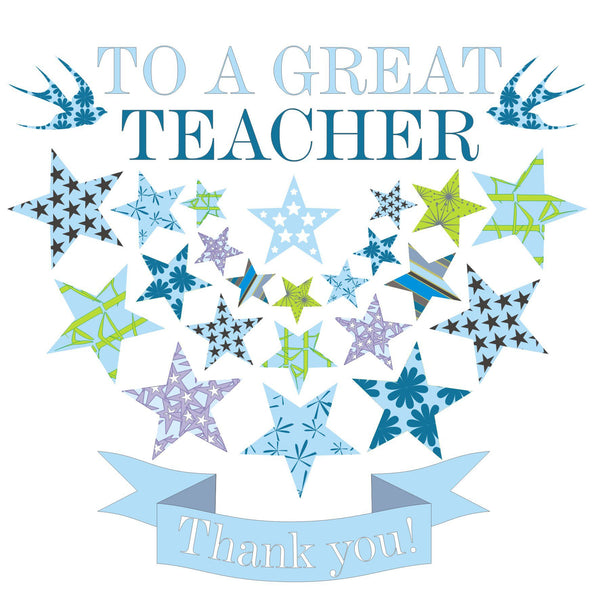 Thank You Card, Blue Stars, To a Great Teacher
