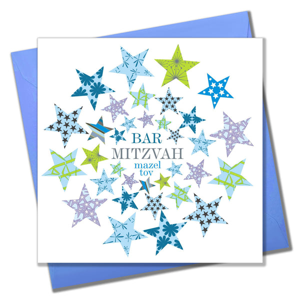 Religious Occassions Card, Blue and Green Stars, Bar Mitzvah Mazel Tov