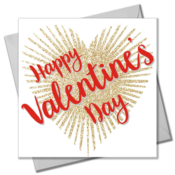 Valentine's Day Card, Glittering Heart, Happy Valentine's Day