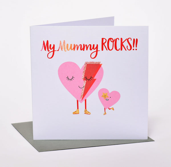 Mother's Day Card, Mum and child heart, Mummy Rocks