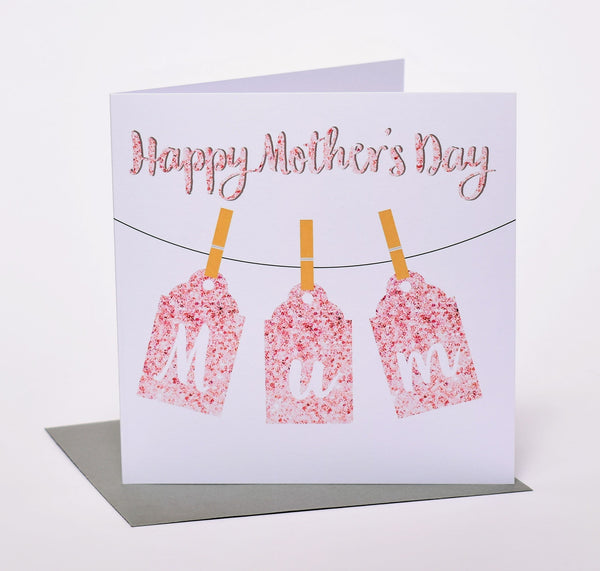 Mother's Day Card, Pegs, Happy Mother's Day Mum
