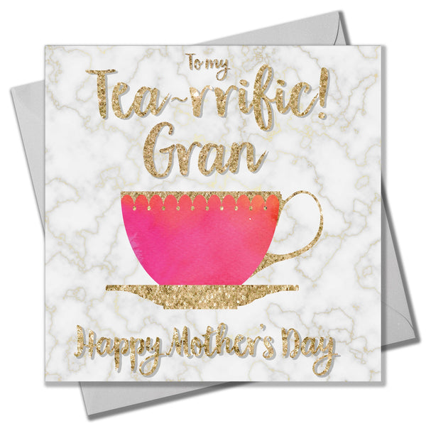 Mother's Day Card, Tea Cup, To my Tea-rrific Gran Happy Mother's Day