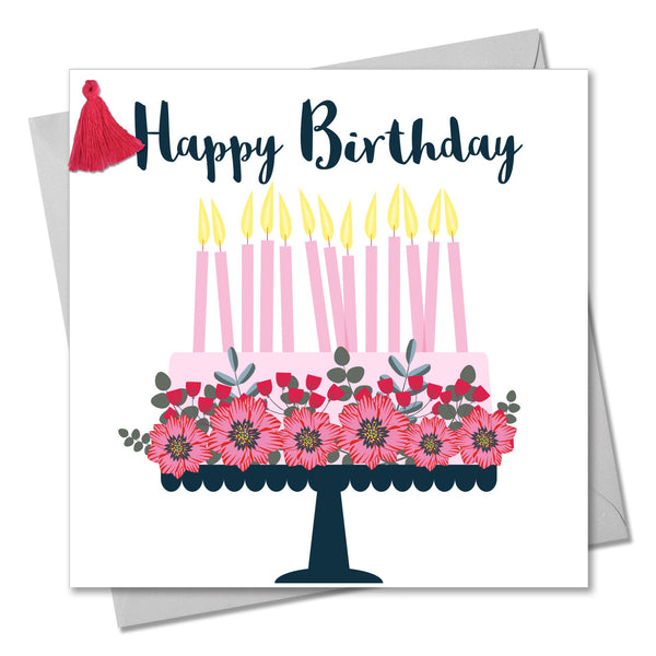 Birthday Card, Pretty Cake, Happy Birthday, Embellished with a colourful tassel