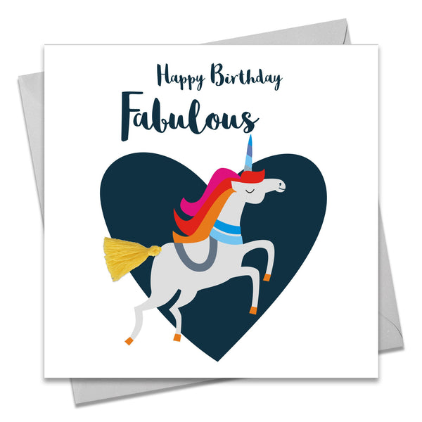 Birthday Card, Unicorn, Fabulous You, Embellished with a colourful tassel