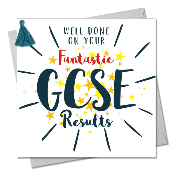 GCSE Exam Congratulations Card, Stars, Embellished with a colourful tassel