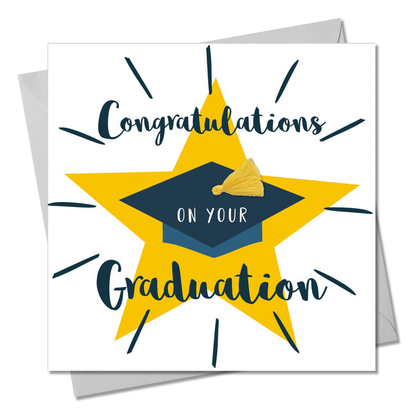 Graduation Congratulations Card, Star, Embellished with a colourful tassel