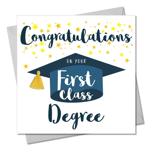 First Class Degree Congratulations Card, Embellished with a colourful tassel