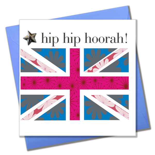 Birthday Card, Union Jack, Hip Hip Hooray!, Embellished with a shiny padded star