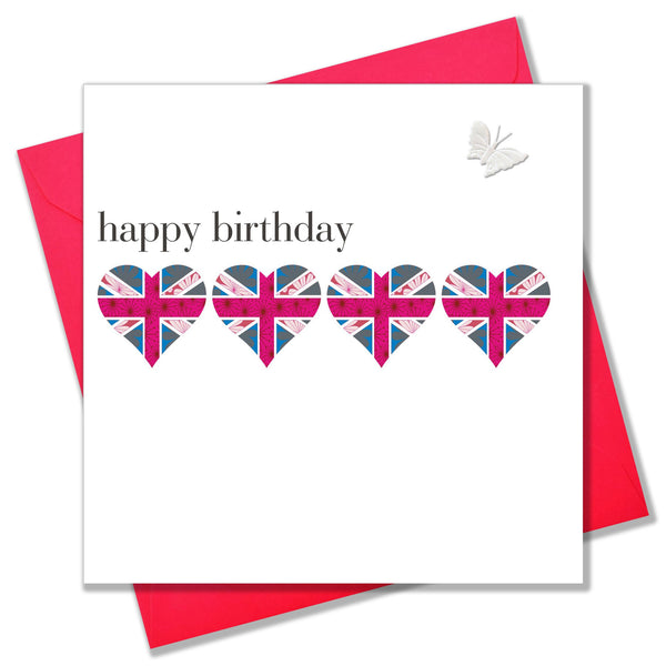 Birthday Card, Union Hearts, embellished with a pretty fabric butterfly