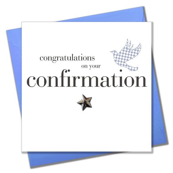 Confirmation Congratulations Card, Blue Dove, Embellished with a padded star