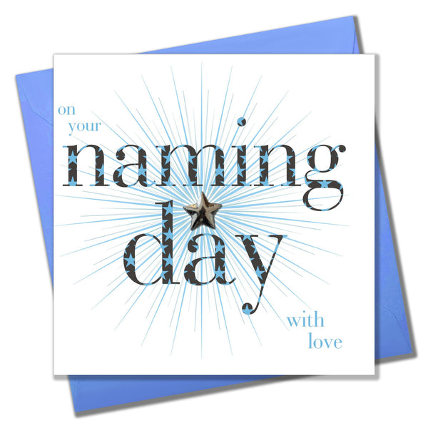 Baby Naming Card, Blue Star, Embellished with a shiny padded star