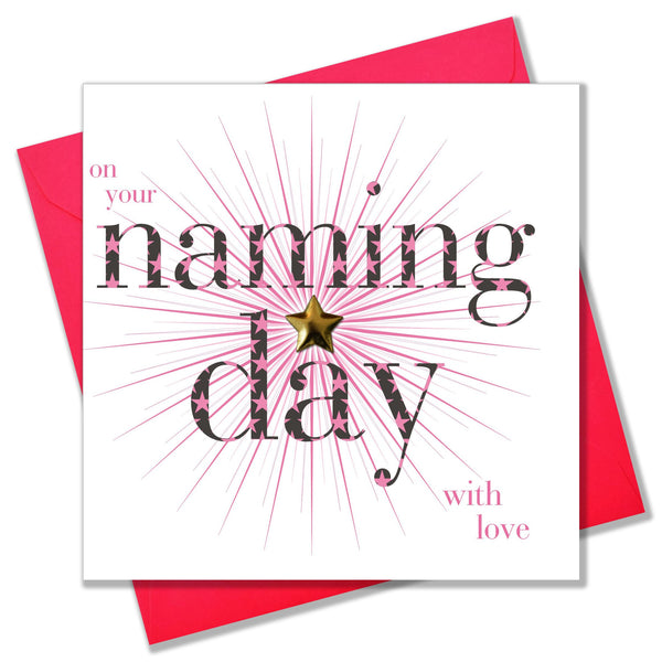 Baby Naming Card, Pink Stars, Embellished with a shiny padded star