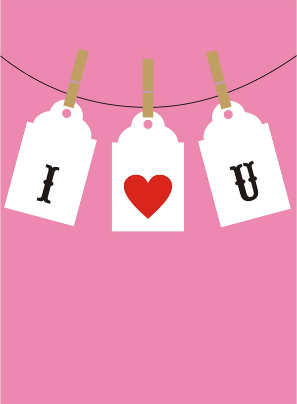 Valentine's Day Card, Pegs on a line, I 'Heart' U