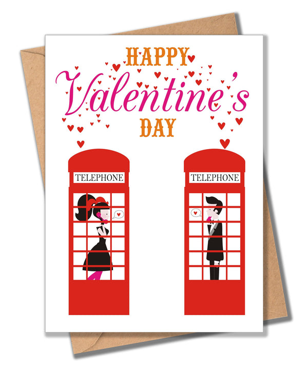 Valentine's Day Card, Telephone Boxes