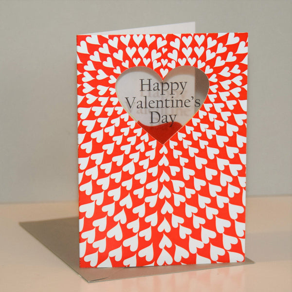 Valentine's Day Card, Heart tunnel, See through acetate window