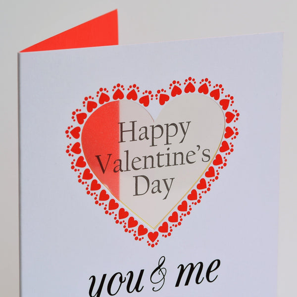 Valentine's Day Card, You and Me Forever, See through acetate window
