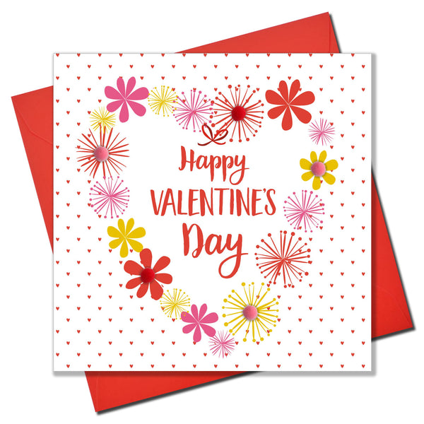 Valentine's Day Card, Heart of Flowers, Embellished with colourful pompoms