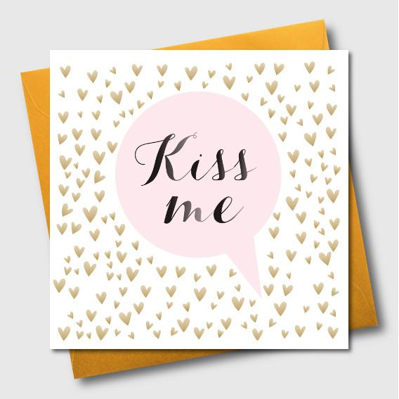 Valentine's Day Card, Gold Hearts, Kiss Me
