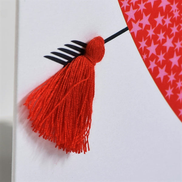 Valentine's Day Card, heart and arrow, Embellished with a tassel